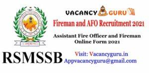 RSMSSB Fireman and AFO Recruitment 2021