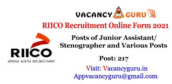 Rajasthan RIICO Recruitment Online Form 2021
